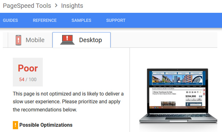 Sample RedmanTech website. Site speed results.