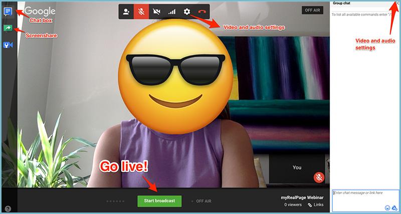 Youtube channel live hangout webinar