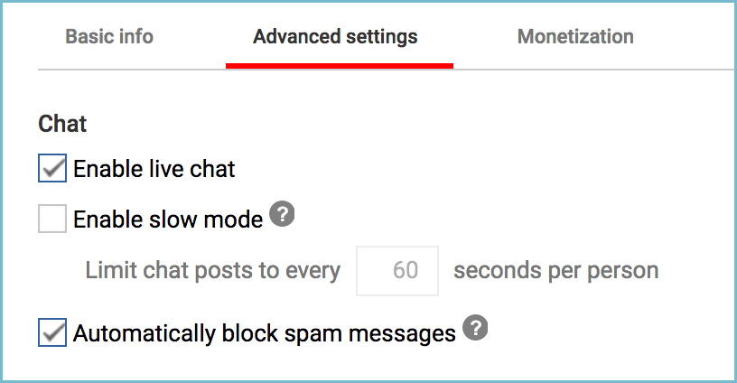 Youtube channel create new event advanced settings