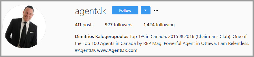 Example of a well-thought out Instagram username by a realtor