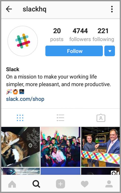 Slack's short and sweet bio on Instagram