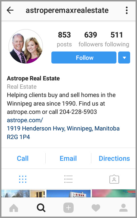 Screenshot of business Instagram account owned by a myRealPage agent