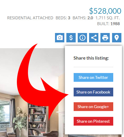 Social media sharing buttons on each listing