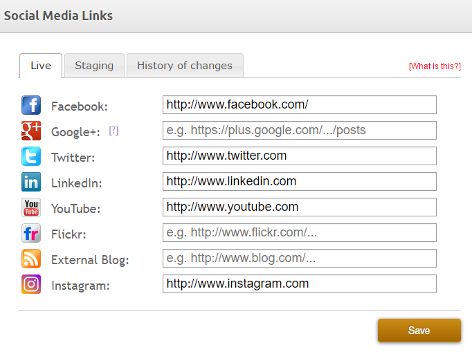 Add links to your social media accounts