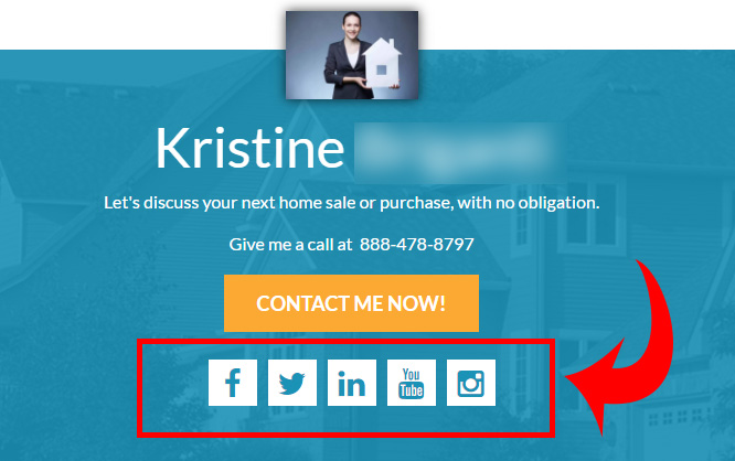 Social media links on your myRealPage home page, header, and/or footer
