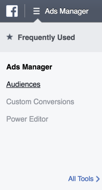 Facebook Ads Manager dropdown menu