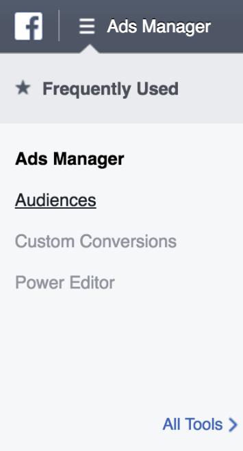 Facebook Ads Manager dropdown menu
